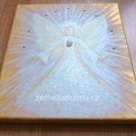 Zlatý anděl naděje, růženín a krystalky Swarovski